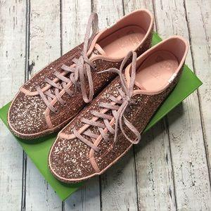 NIB Keds by Kate Spade Rose Gold Glitter Sneakers